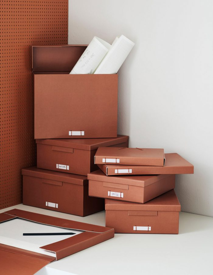 Large Cognac File Boxes with Lids, Monograph